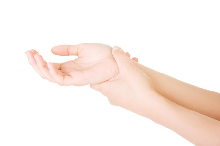 22037153 - woman holding her hand - pain concept . isolated on white
